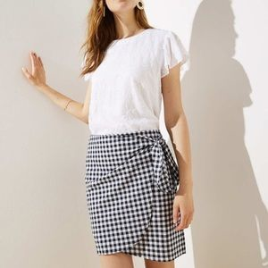 NWT LOFT Gingham Wrap Shift Skirt